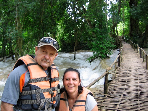 kayaking in laos tad se waterfall