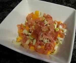 melon and prosciutto and fennel