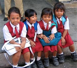 school girls in Bali