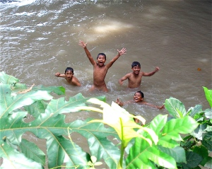 boys swimming in bali