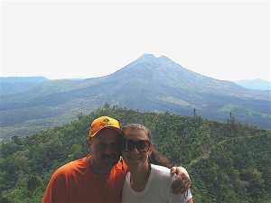 at the top of mount batur in bali