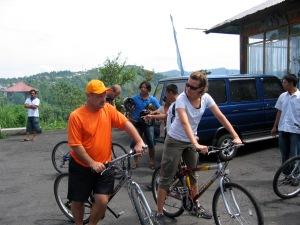 at the top of mount batur biking in bali