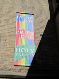 pride banner holy trinity church toronto