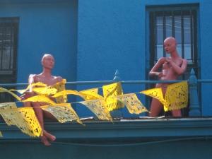 mannequins on a roof kensington market toronto