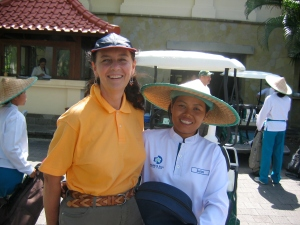 Making friends with my golf caddy in Bali