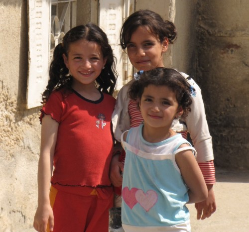 Girls in a Palestinian refugee camp near Bethlehem