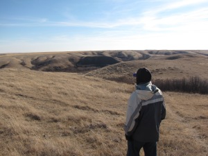 Dave looks at a buffalo jump