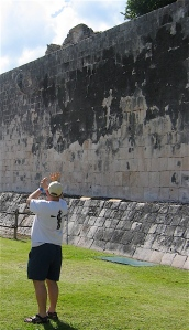 Dave at the ball court at Chichen Itza