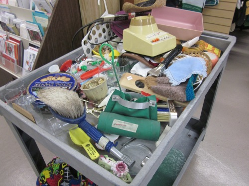People's discarded items on sale at a thrift store.