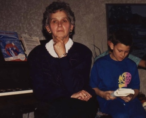 My Mom listens intently while her oldest grandchild reads the Christmas story