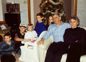 Christmas twenty years ago-Mom and Dad and grandchildren
