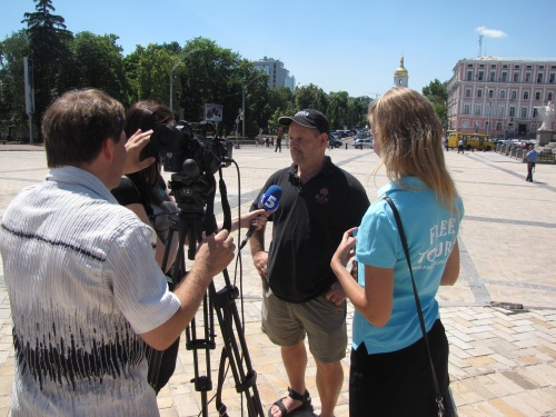 Dave being interviewed on national television about our tour of Kiev