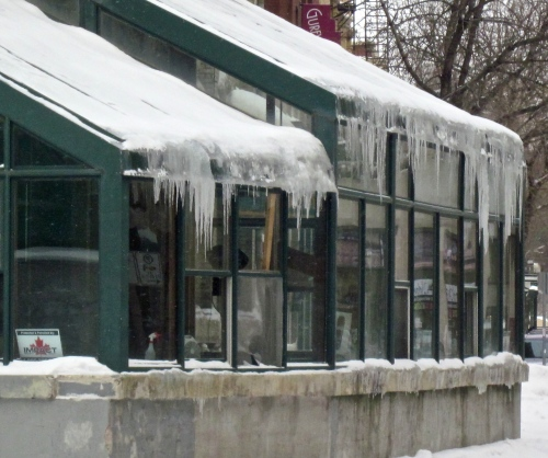 Icicles on the Royal Albert Hotel