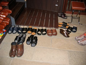 Shoes at the front door of our ryokon in Kyoto