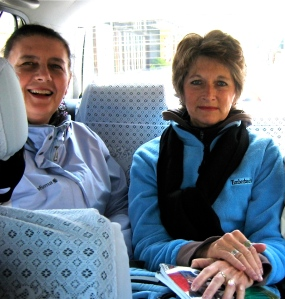 My friend Sue and I in a Japanese taxi