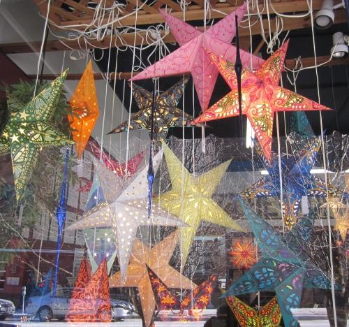 illuminated stars in store window asheville north carolina