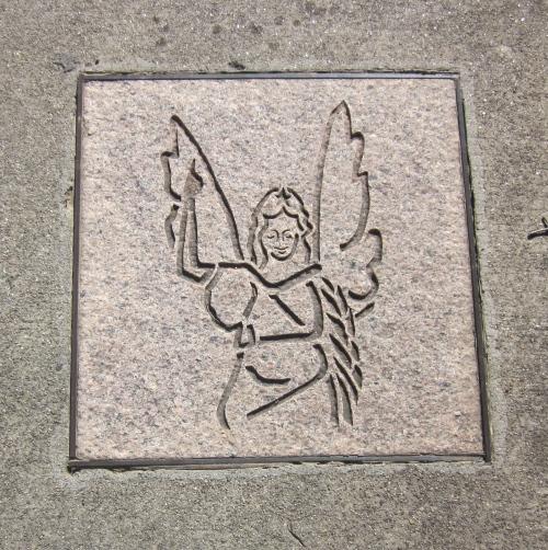 Angel on the sidewalk in Ashville North Carolina