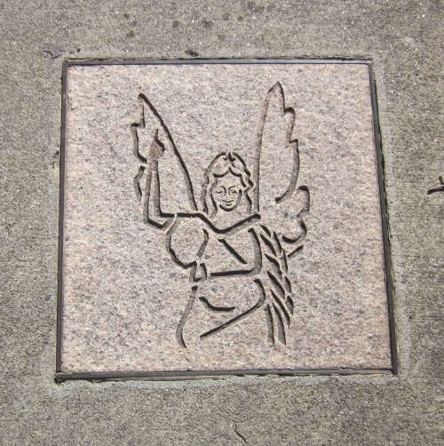 Angel on the sidewalk in Ashville North Carolina
