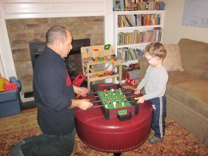 playing table top hockey