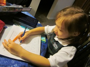 six year old doing homework