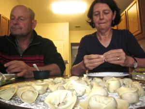 rolling  chinese dumplings