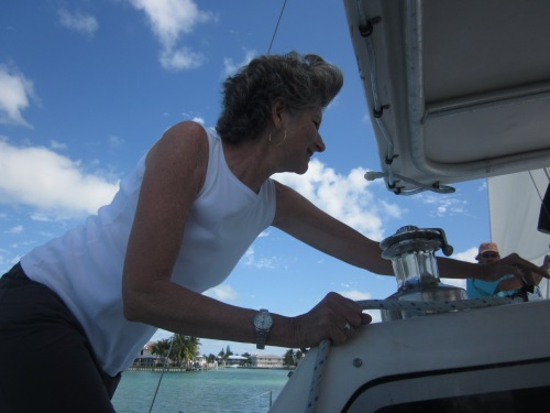 sue helps with the sails
