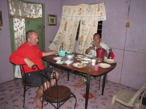 Dave and Sanih at the dinner table.