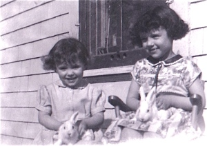 girls with rabbits 1950's