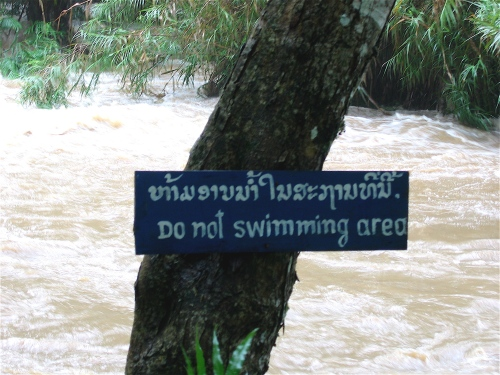 no swimming area laos