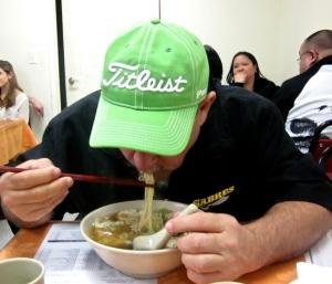 eating won ton mien