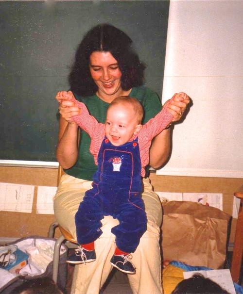baby on school visit 1985