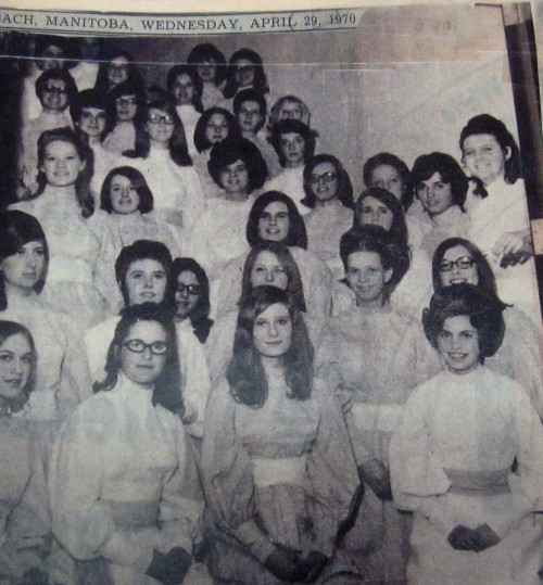 The Steinbach Treble Teens participate in A Mosiac of Music in April of  1970- I'm the very furthest to the right standing and leaning on the door