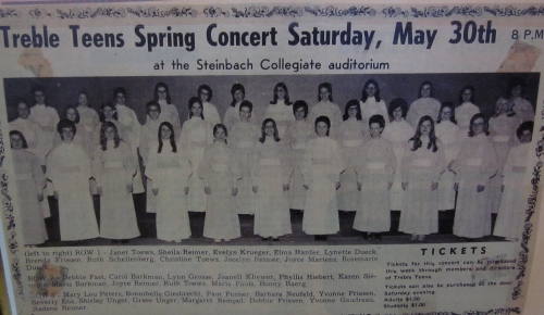 Jocelyn Reimer is third from the right in the first row in this newspaper photo advertising the May 1970 spring concert of the Treble Teens