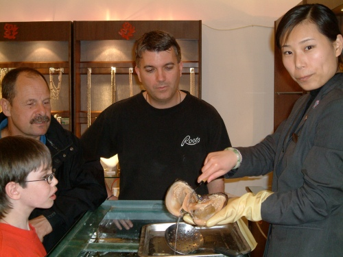 Checking out an oyster in Xian China