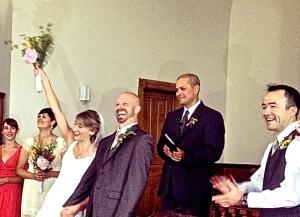 bride is happy