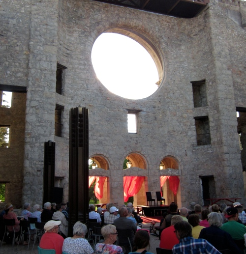 We watched a play behind the St. Boniface Basilica facade at the Fringe Festival last year.