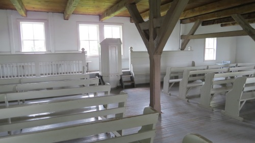 Church at the Mennonite Heritage Museum. I remember when I was a little girl my grandparents' attended a church like this and men and women sat on different sides of the sanctuary.