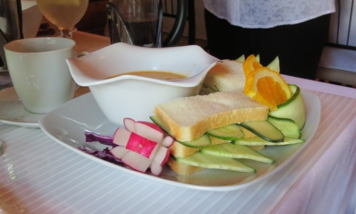 soup and cucumber sandwich