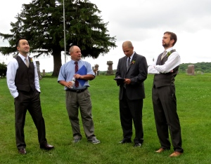 Dave with the pastor and two groomsmen.
