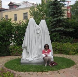 Michel de Broin's sculpture Monument in the Jardin de sculptures de la Maison