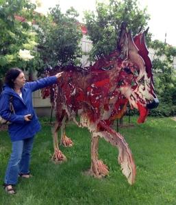 between dog and wolf st. boniface sculpture garden