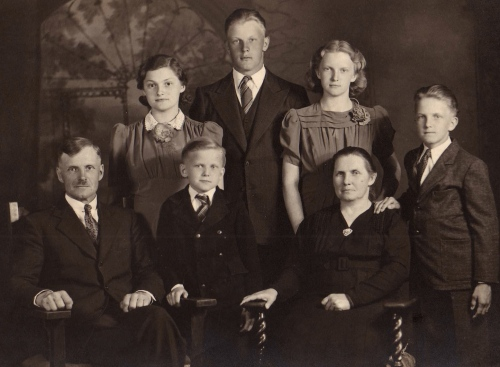 The Driedger family twenty years after immigration. My father-in-law in the centre and his sister Agatha to his left were both born in Ukraine