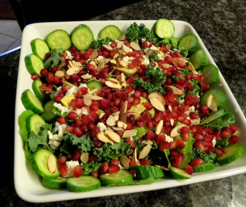 cucumber, kale, romaine, pomegranate, slivered almond, feta salad