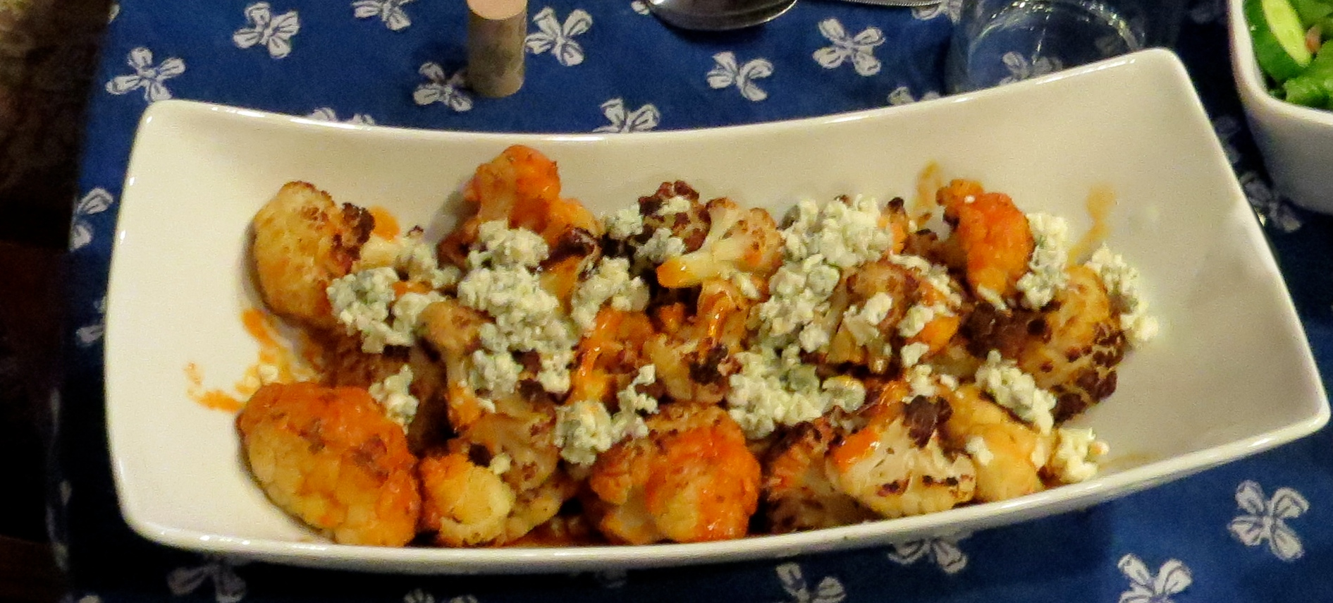 roasted cauliflower with blue cheese hot sauce dressing