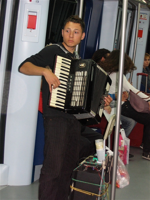 Accordian player on the train in Madrid