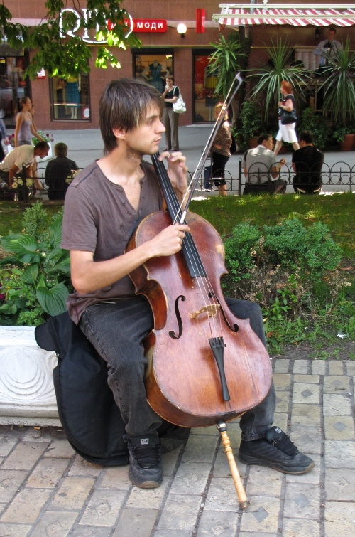 Cellist on the street in Kiev Ukraine