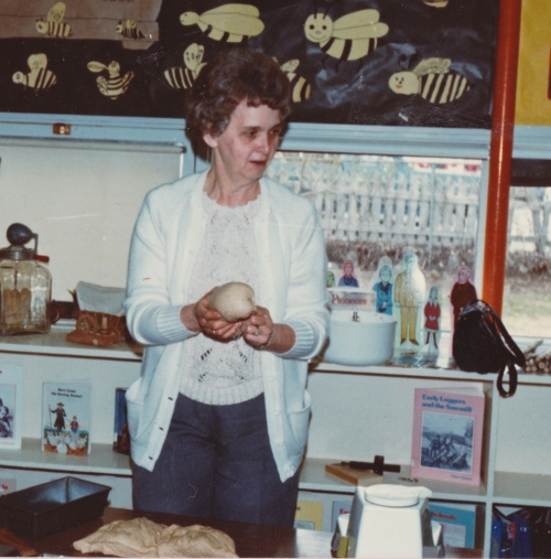 I couldn't find a picture of Mom making pepper nuts with my students but here she is baking bread with one of my school classes. She used to do that too! What a support she was to me in my profession.
