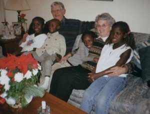 My Mom and Dad with children from a refugee family from Sierra Leone they sponsored