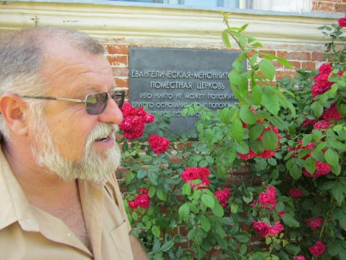 Our guide Victor with the plaque that indicates this was a Mennonite Church built in 1892