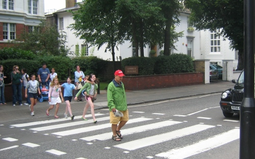 My husband Dave crossing Abbey Road 2005